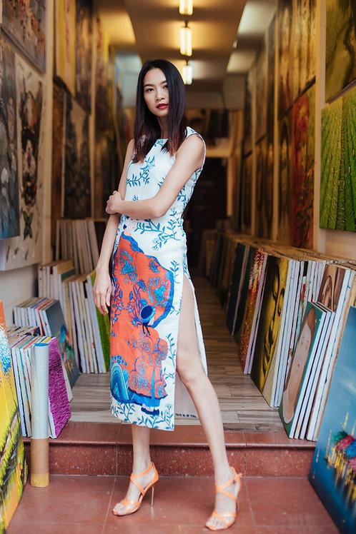 Printed White Brocade maxi dress