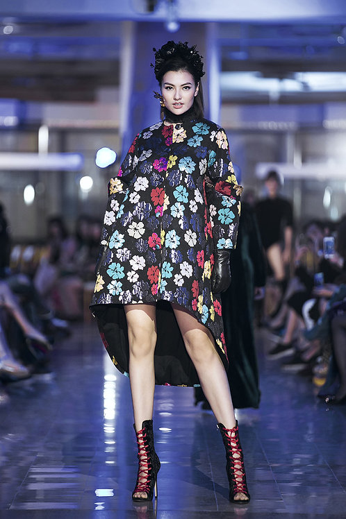 Colorful Flower Brocade Mullet Midi Dress