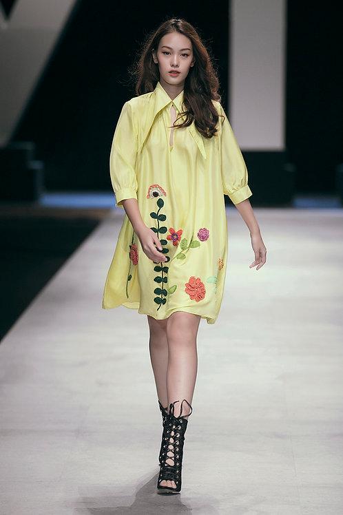 Embroidered yellow Haputai Mini Dress