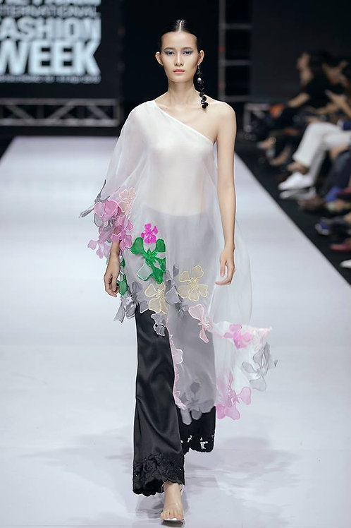 One-Shoulder Asymmetric  Flower Embroidered Organza Blouse