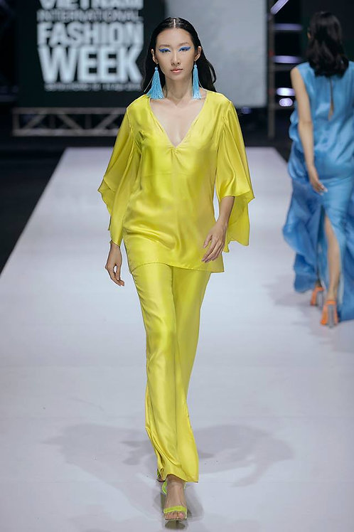 V-neck Yellow Twill Silk Blouse And Wide-leg Pants