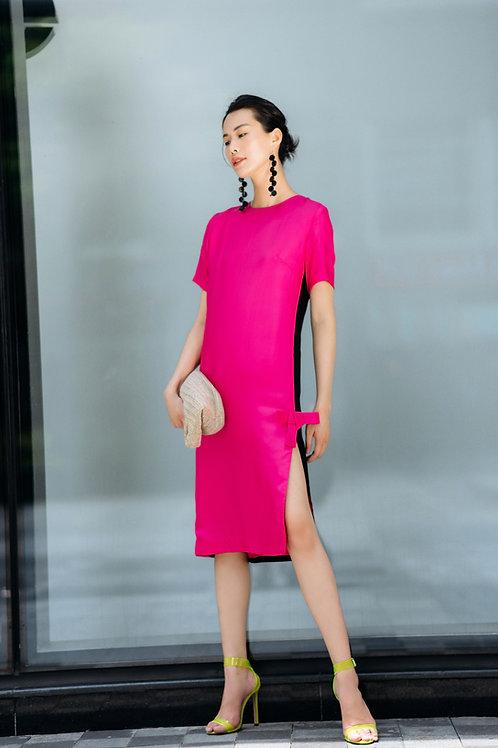 Pleated Tie-bow Two-tone  Satin Midi Dress