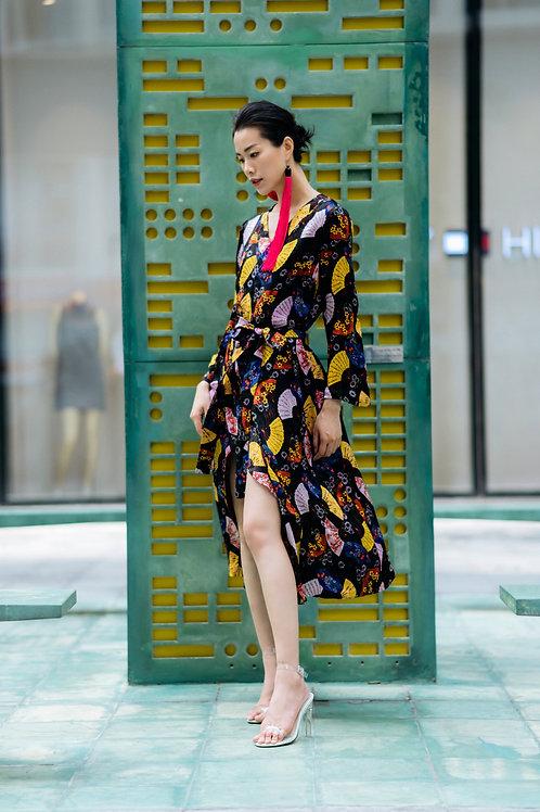Printed Silk Maxi Kimono Dress