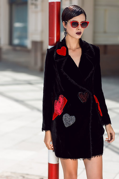 Heart Embroidered Black Velvet Vest Dress
