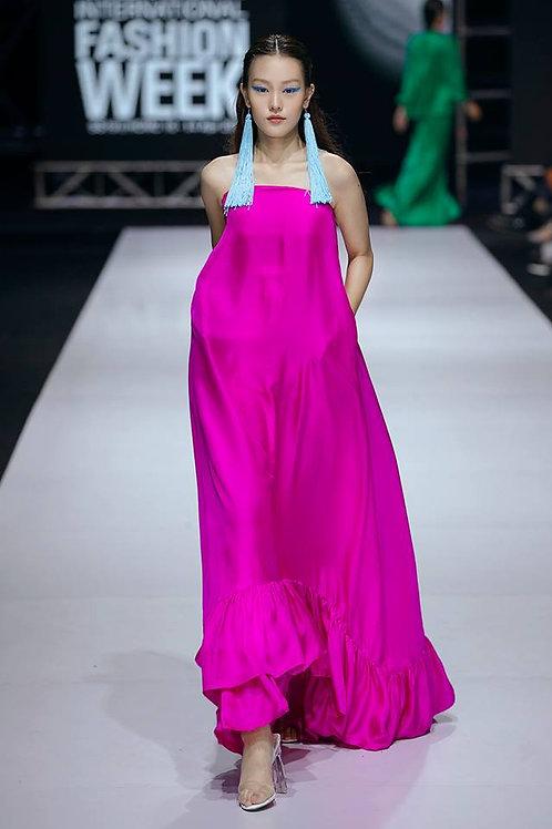 Off-the-shoulder Ruffed Twill Silk Midi Dress