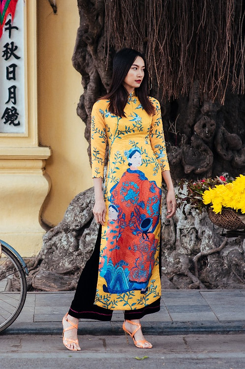 Printed Yellow Brocade Modernized Ao Dai