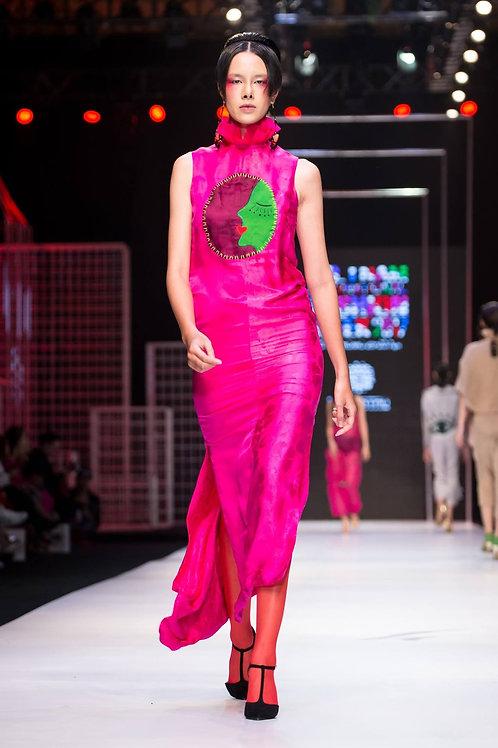 Pink silk-satin maxi dress