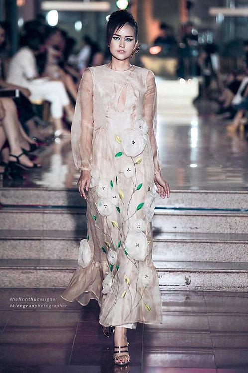 Flowers Trimmed Organza Maxi Dress