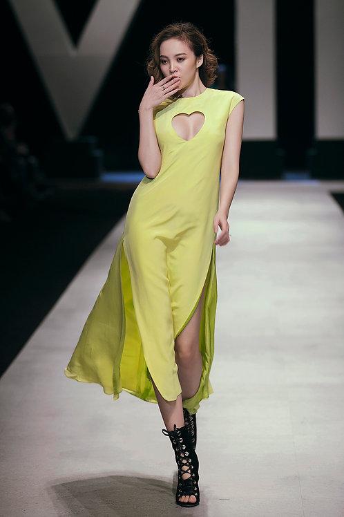 Heart Cutout Yellow-green Crepe Mullet Dress