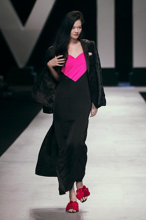 Black And Pink Satin Maxi Dress