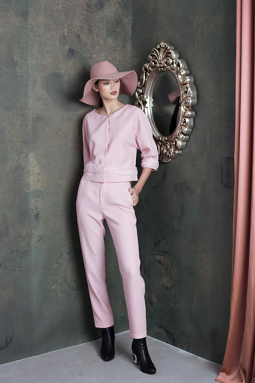 Blush Ruby-crepe Stretch Tapered Pants
