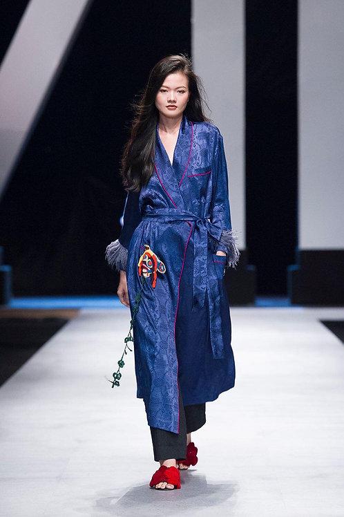 Belted Dark Blue Floral Satin Pijama