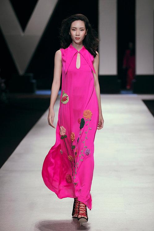 Emroidered Sleeveless pink Satin Maxi Dress