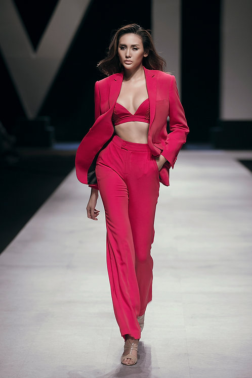 Pink Crepe Ruby Wide-leg Pants
