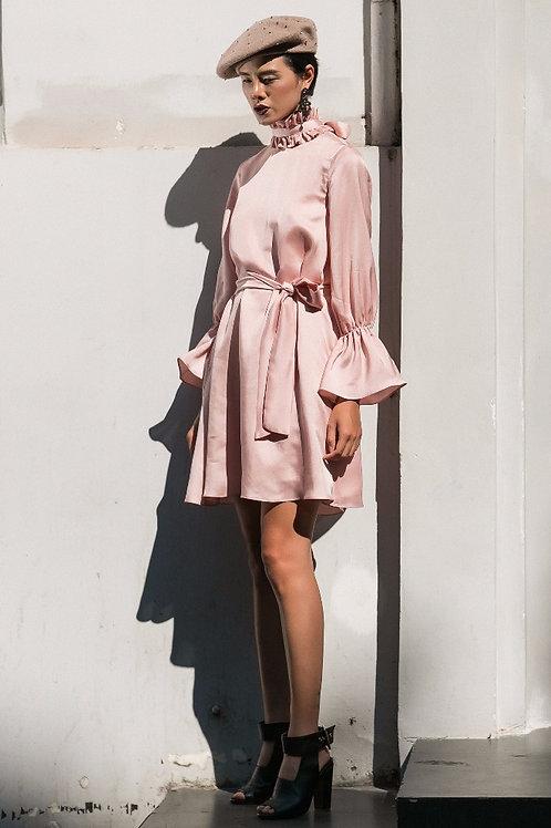 Ruffled & Tied Pink Silk Mini Dress