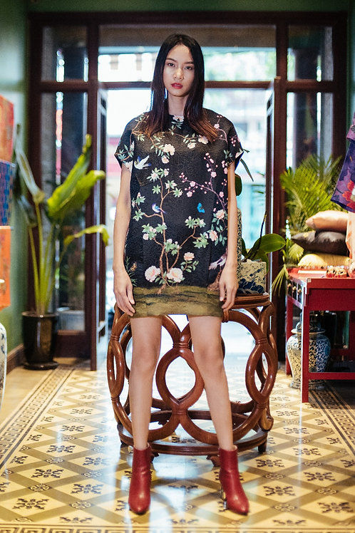 Short-sleeved Leaves Floral-Printed Black Brocade Mini Bomber Dress