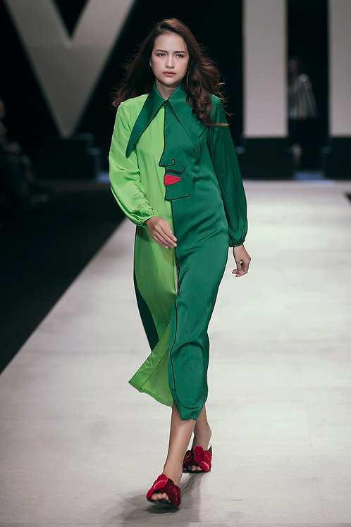 Embroidered-Face GreenTwo-tone Crepe Shirt Dress