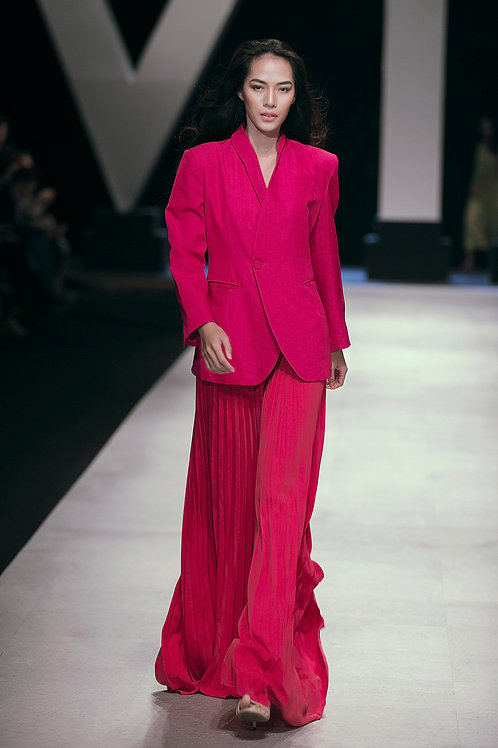 Pleated Pink Crepe Ruby Wide-leg Pants