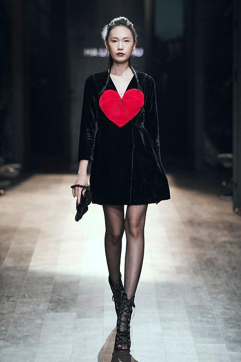 V- neck Trimmed-heart  Black Velvet Mini Dress