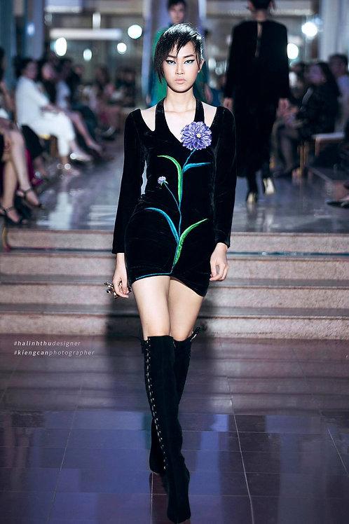 Flower Embroidered Cold-shoulder Black Velvet Mini Dress