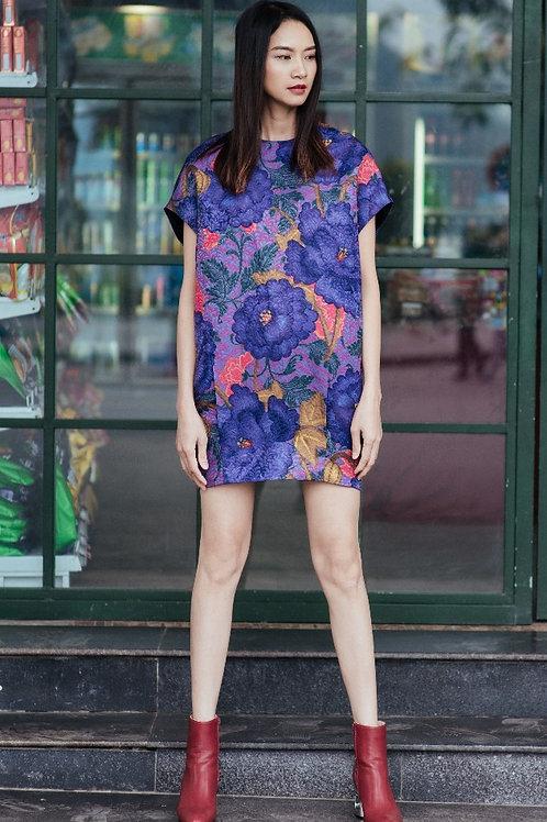 Short-sleeved Flower Printed Purple Brocade Mini Bomber Dress