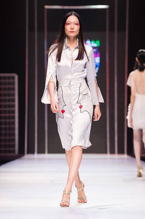 Embroidered Grey Satin Midi Shirt Dress