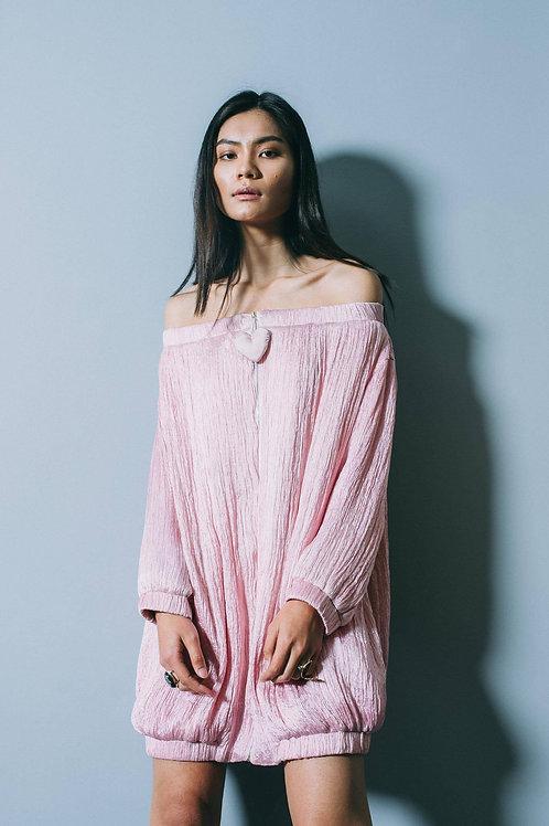 Off-the-shoulder Velvet Heart Trimmed Pink Ruffled Silk Mini Bomber Dress