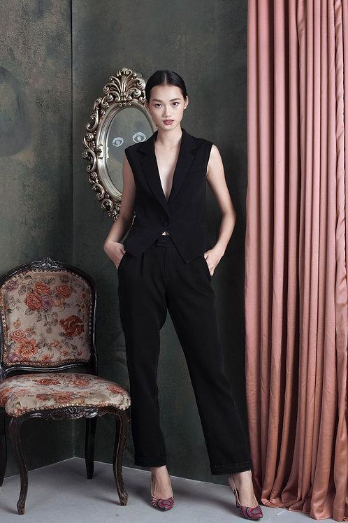 Black Ruby-crepe Straight-leg Tapered Pants