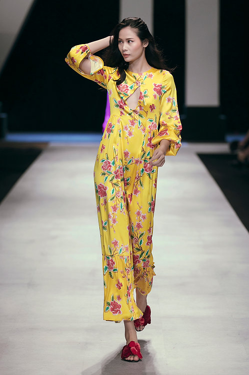 Cutout Yellow Floral-print Silk Satin Jumpsuit