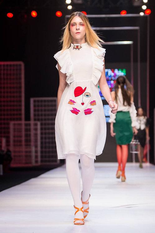 Embroidered ruffled white organza midi dress
