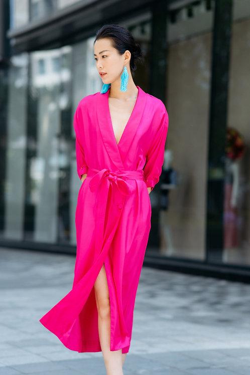 Fushia Twill Silk Kimono Dress