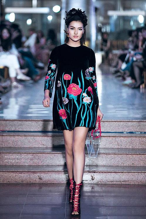 Flowers Embroidered Black Velvet Mini Dress