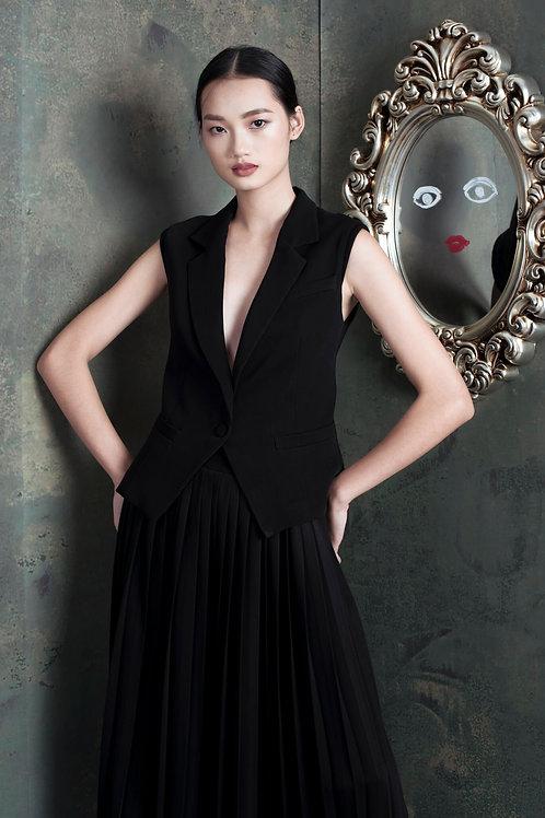 Metallic Pleated Black Ruby-crepe Midi Skirt