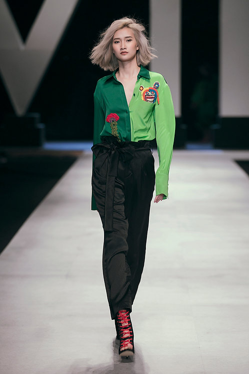 Embroidered Face Green Two-tone Crepe Shirt