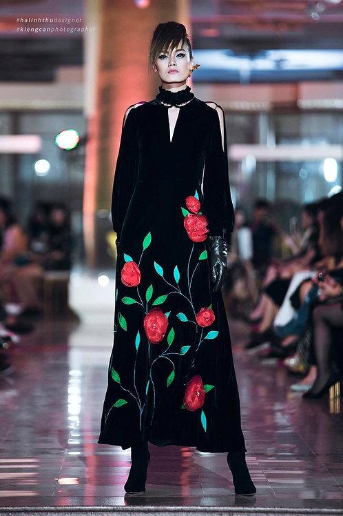 Flowers Trimmed Cold-Shoulder Black Velvet Maxi Dress
