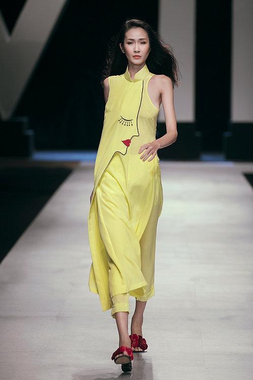 Embroidered Yellow Crepe Modern Ao Dai