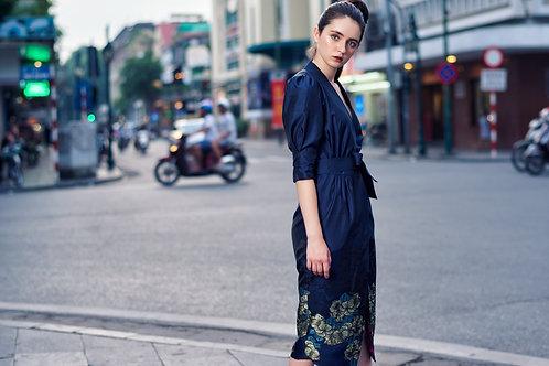 Floral-printed Bottom Taffta Wrap Dress