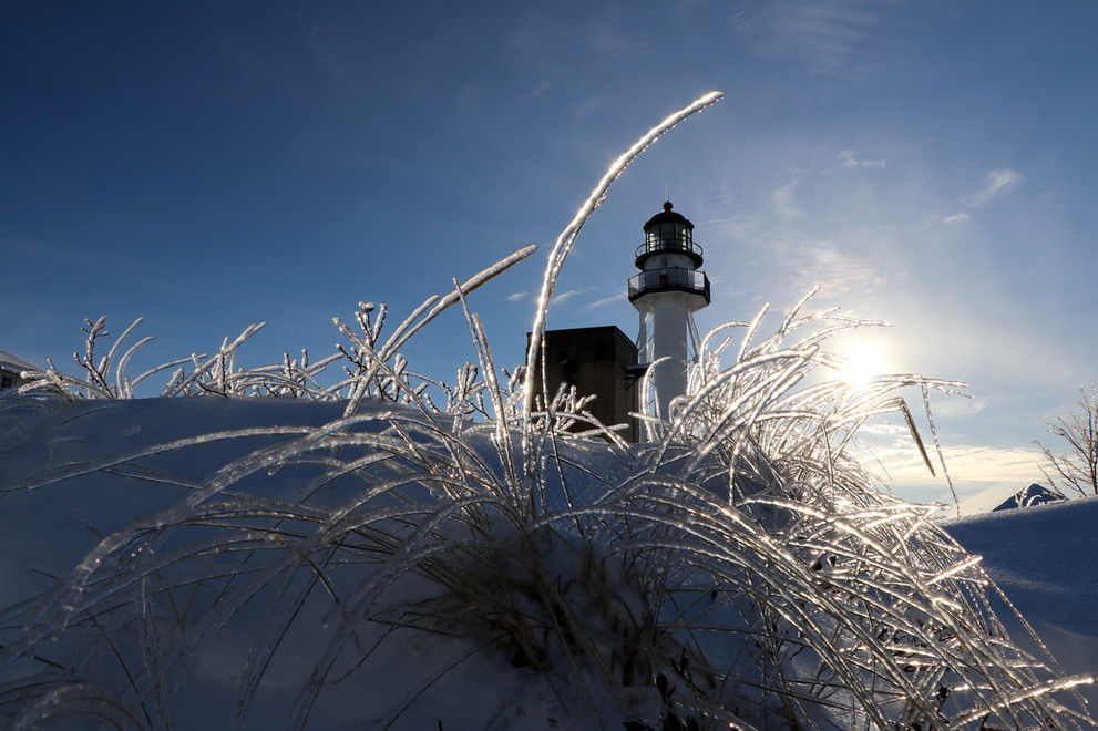 Frozen Beach Grass at Whitefish Point Lighthouse