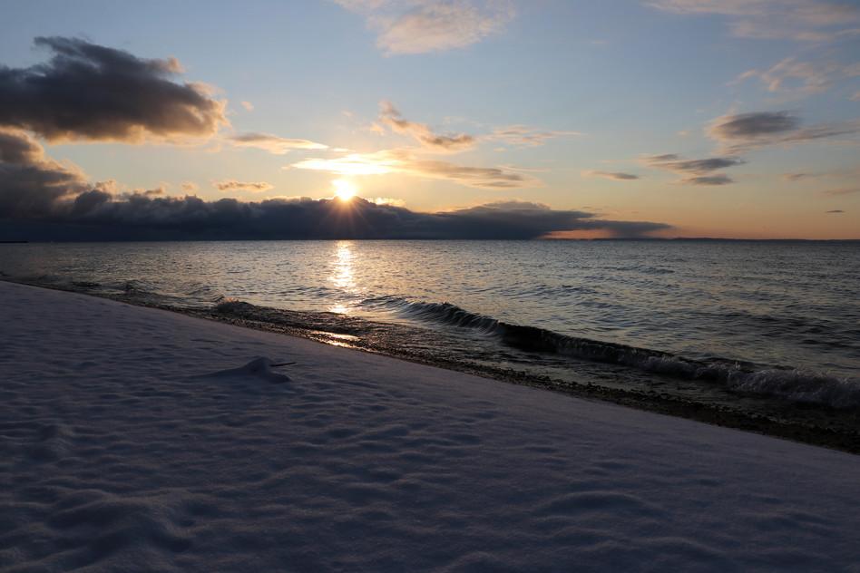 Snowy Sunrise over Lake Superior