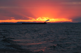 Freighter at Sunrise