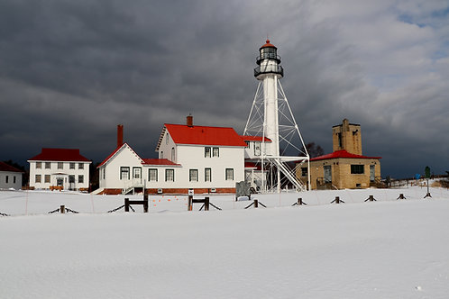 Blank Card with Envelope - Whitefish Point Lighthouse January