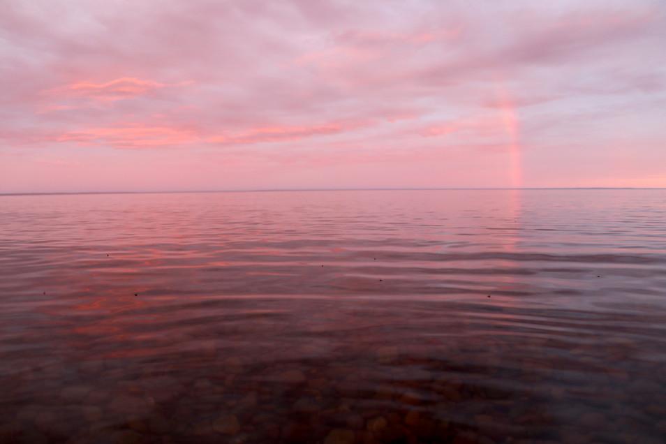 Rainbow at Sunset over Lake Superior