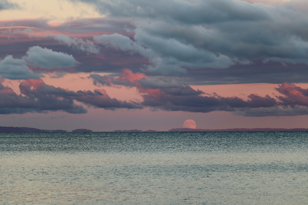 October Moonrise over Whitefish Bay