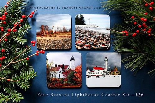 Four Seasons Lighthouse Coaster Set
