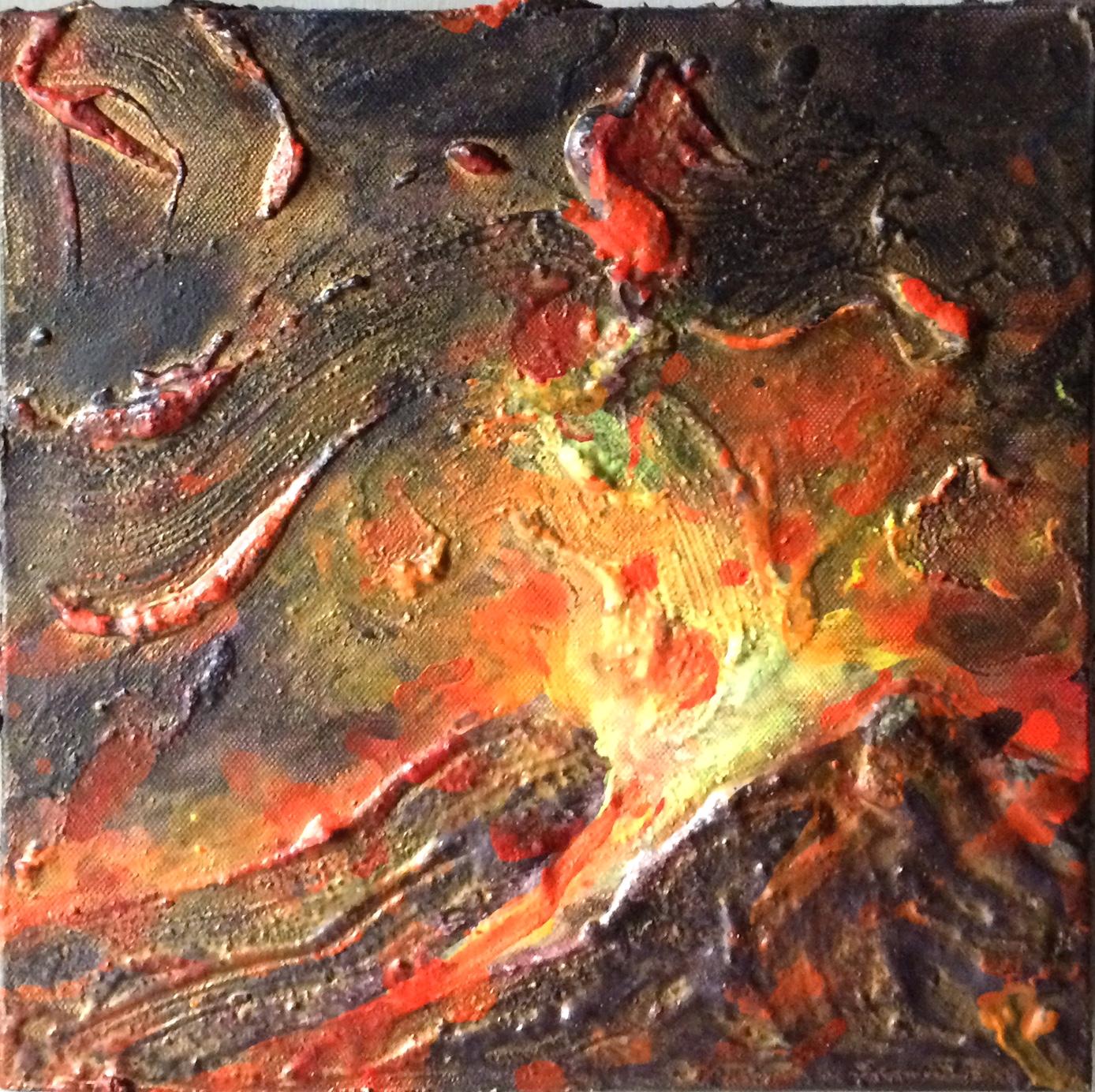 mariella bogliacino - Vulcano 2008 - tecniche miste su tela - cm 30x30