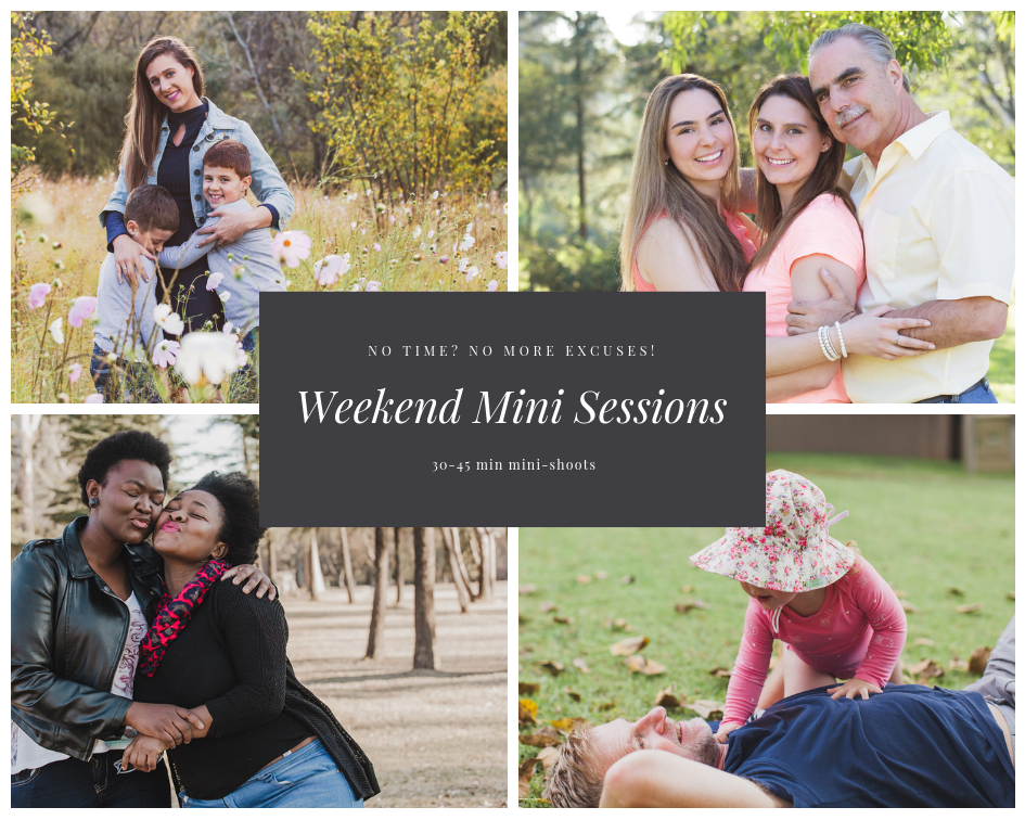 Mini-sessions outdoors in the park or at home
