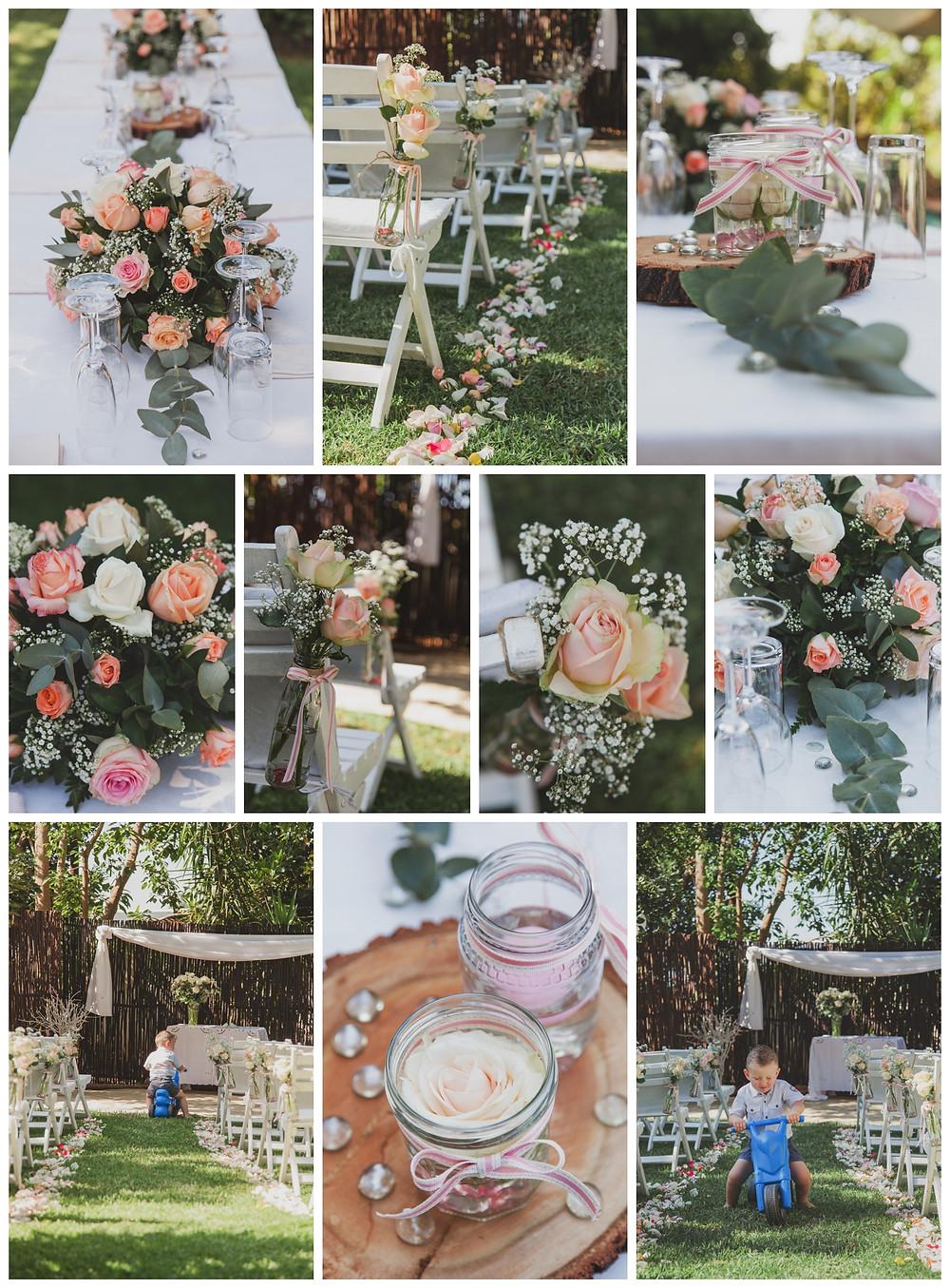 Craig and Nadine's garden wedding ceremony - decor