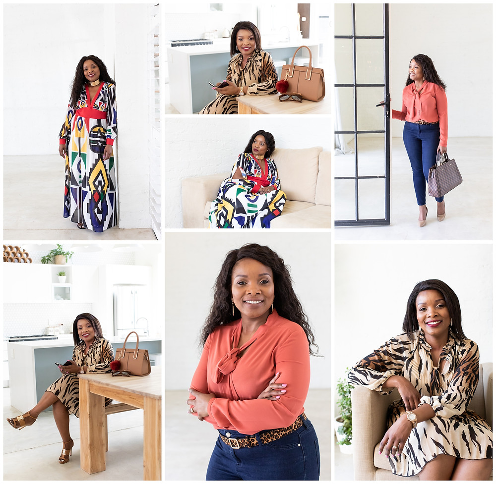Nqobile's brand shoot - a mix of formal portraits and more fun lifestyle images