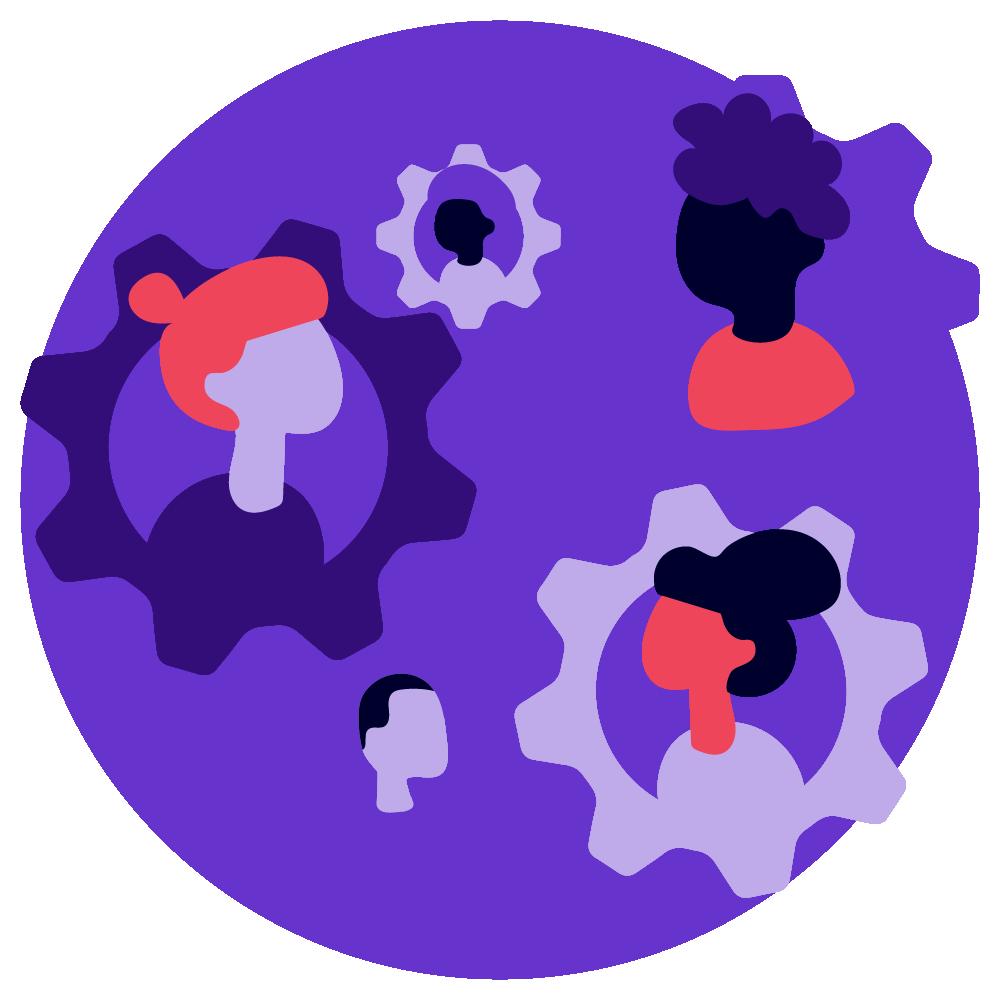 People in gears showing interdependencies