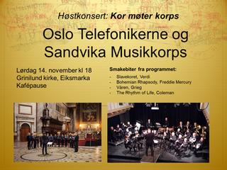 Info om øvelse 10/11 og konsert 14/11